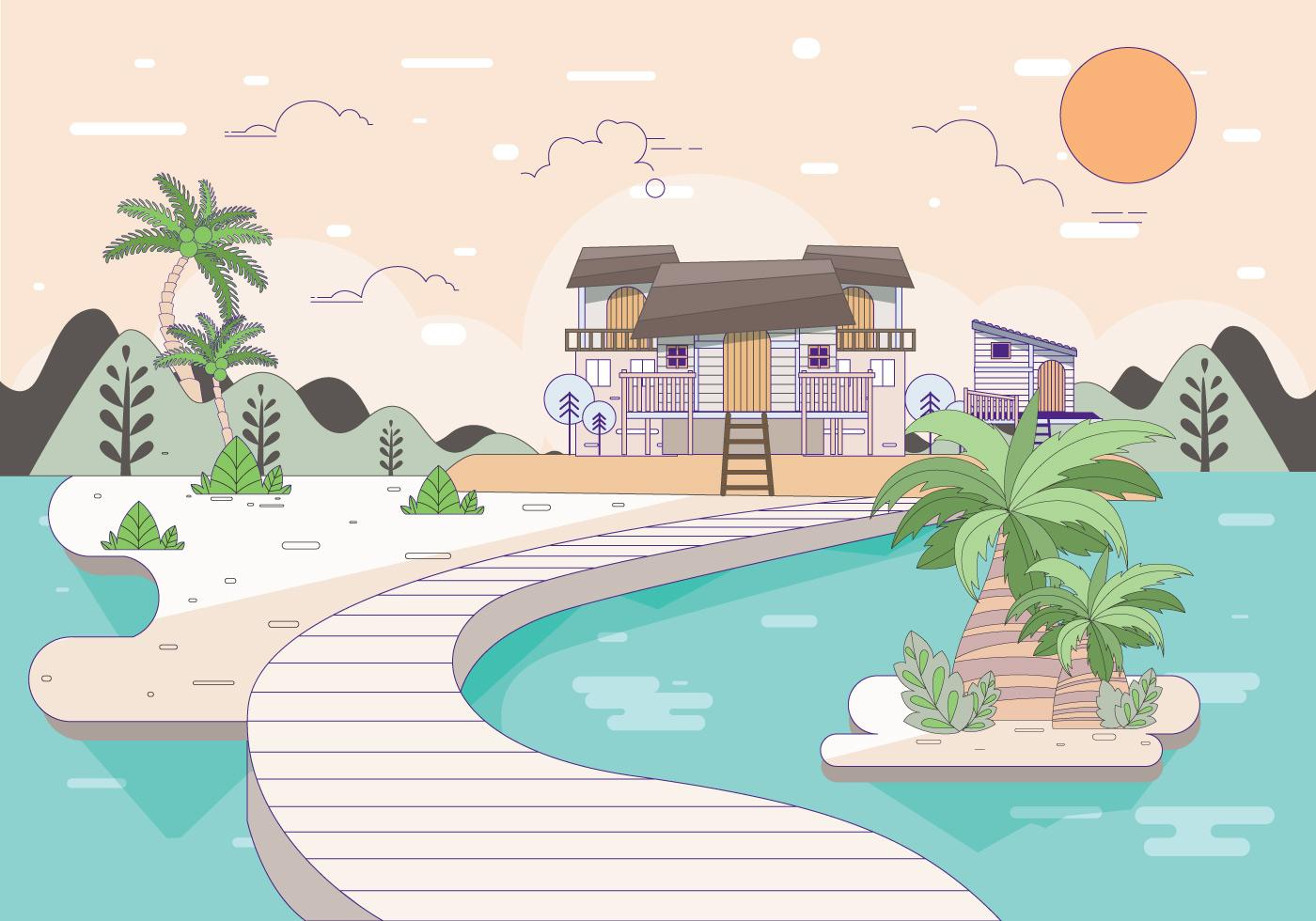 Beach Resort Illustration Vol 2 Vector_Beach-Resort-Illustration-Vol-2-Vector